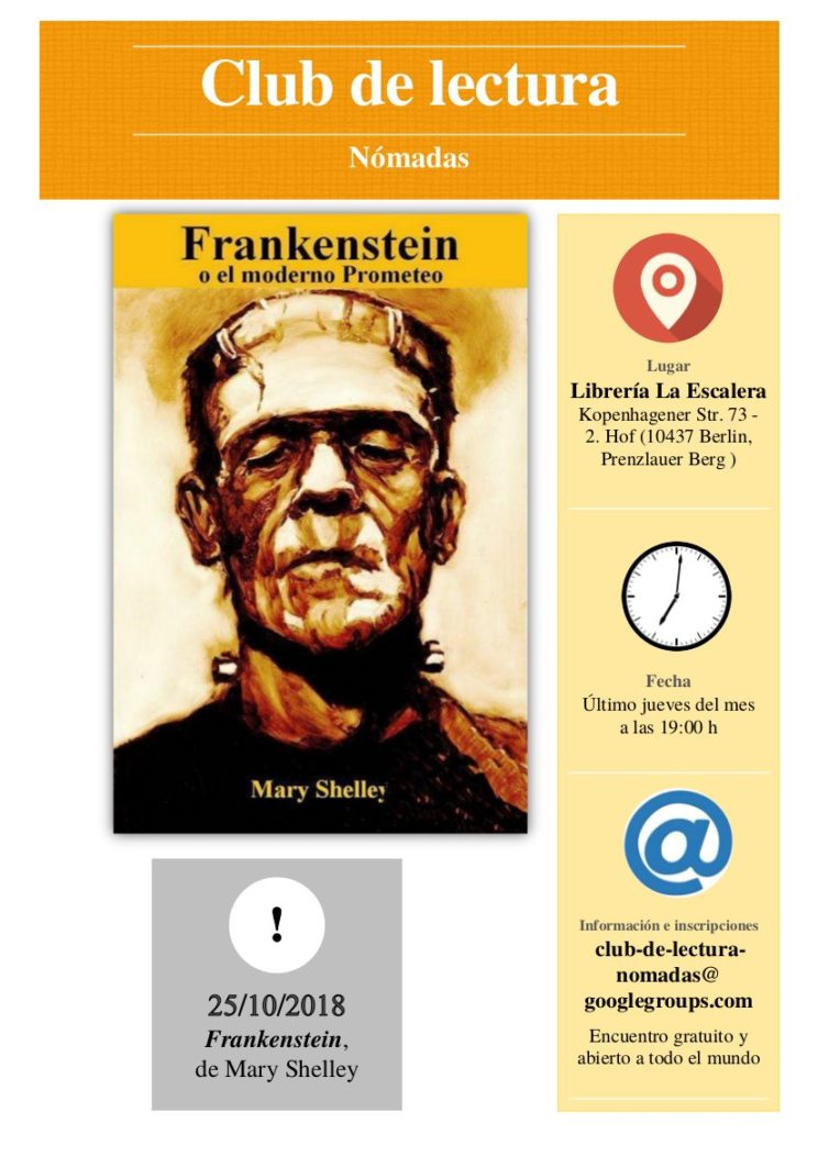 Club de lectura Nómadas: Frankenstein, de Mary Shelley